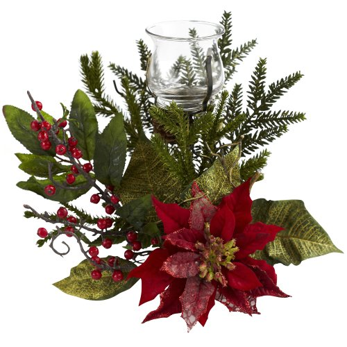Nearly Natural 4951 Poinsettia Candelabrum, Green von Nearly Natural