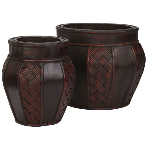 Nearly Natural 516 Wood and Weave Panel Decorative Planters, Brown, Set of 2 von Nearly Natural