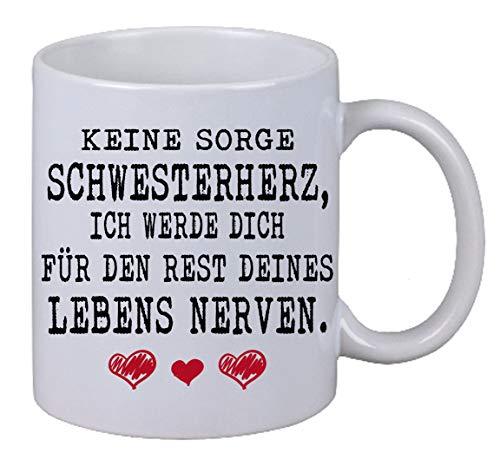 Kaffee Tasse Keine Sorge Schwesterherz  Weihnachten Geburtstag Geschenk