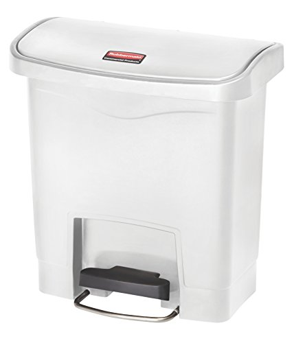 Rubbermaid Slim Jim 1883554 15 Litre Front Step Step-On Resin Wastebasket - White von Rubbermaid Commercial Products