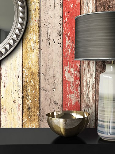 Holz Muster Tapete Vlies Beige Rot Braun Edel | Schöne Edle Tapete Im  Holzwand Design | Moderne 3D Optik Für Wohnzimmer, Schlafzimmer Oder Küche  Inkl.