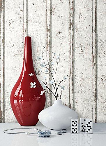 holz tapete wohnzimmer:Tapete Vlies Antik Holz Muster in Creme Weiß