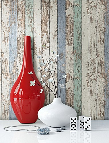 tapete wohnzimmer grün:Tapete-Vlies-Holz-Muster-in-Beige-Blau-Gruen-schoene-edle-Tapete-im