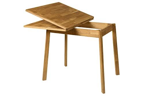 Nordicstory Moby Esstisch, ausziehbar, rund, mit gekreuzten Beinen, Massivholz Eiche, modernes Nordic Design im skandinavischen Stil, für Wohnzimmer,