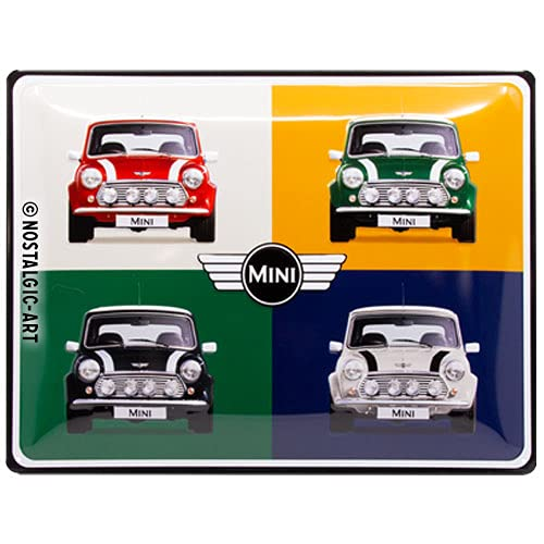Nostalgic-Art 23254 Mini - 4 Cars Pop Art  | Retro Blechschild | Vintage-Schild | Wand-Dekoration | Metall | 30x40 cm von Nostalgic-Art