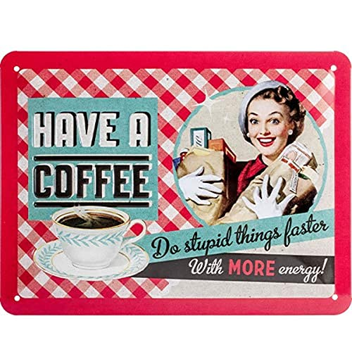 Nostalgic-Art 26105 Say it 50's - Have A Coffee | Retro Blechschild | Vintage-Schild | Wand-Dekoration | Metall | 15x20 cm von Nostalgic-Art