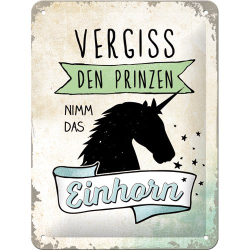 Nostalgic-Art 26205 Word Up - Vergiss den Prinzen | Retro Blechschild | Vintage-Schild | Wand-Dekoration | Metall | 15x20 cm von Nostalgic-Art