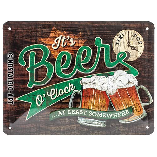 Nostalgic-Art 26214 Open Bar - Beer O' Clock | Retro Blechschild | Vintage-Schild | Wand-Dekoration | Metall | 15x20 cm von Nostalgic-Art
