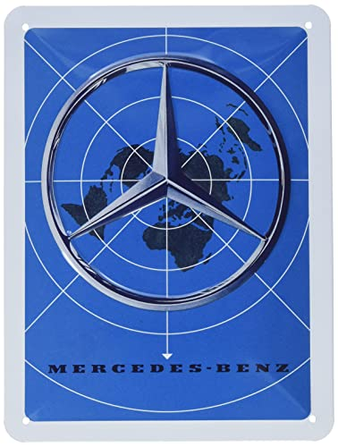 Nostalgic-Art 26233 - Mercedes-Benz - Blue Map , Retro Blechschild , Vintage-Schild , Wand-Dekoration , Metall , 15x20 cm von Nostalgic-Art