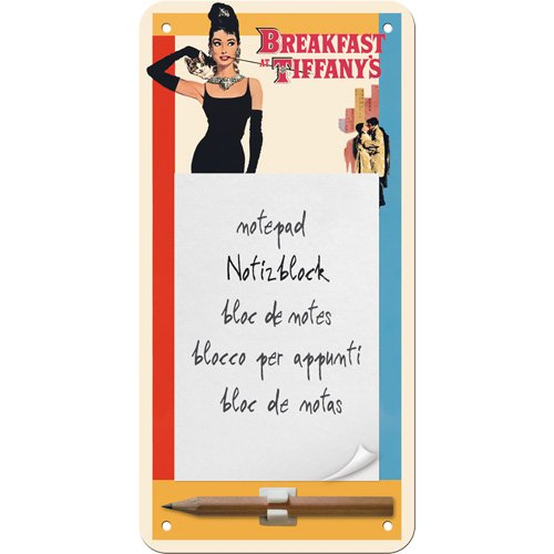 Nostalgic-Art 84003 Breakfast at Tiffany's Classic, Notizblock-Schild, 10 x 20 cm von Nostalgic-Art