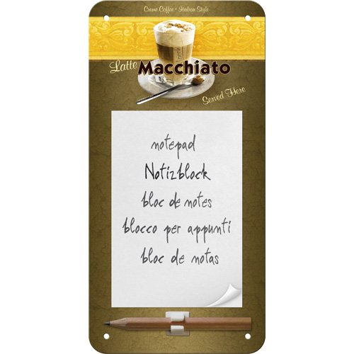 Nostalgic-Art 84009 Coffee und Chocolate Latte Macchiato, Notizblock-Schild, 10 x 20 cm von Nostalgic-Art