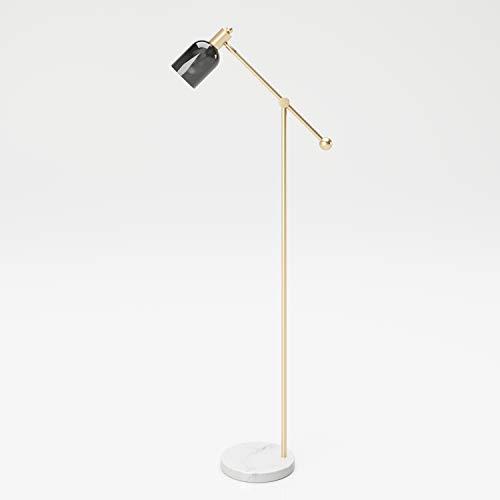Standleuchte Leselampe LED Stehlampe mit Flexrohr und Lampenschirm grau Stoff