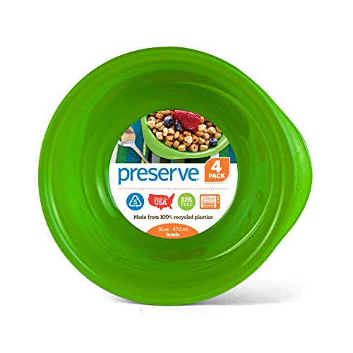 Preserve Everyday 16 Ounce Recycled Plastic Bowls, Set of 4, Apple Green von Preserve