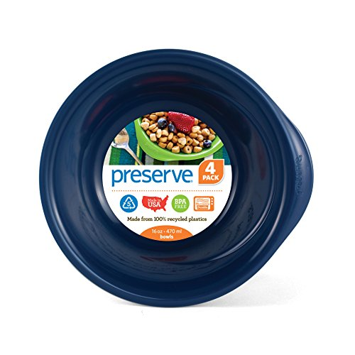 Preserve Everyday 16 Ounce Recycled Plastic Bowls, Set of 4, Midnight Blue von Preserve