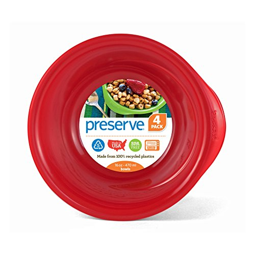 Preserve Everyday 16 Ounce Recycled Plastic Bowls, Set of 4, Pepper Red von Preserve