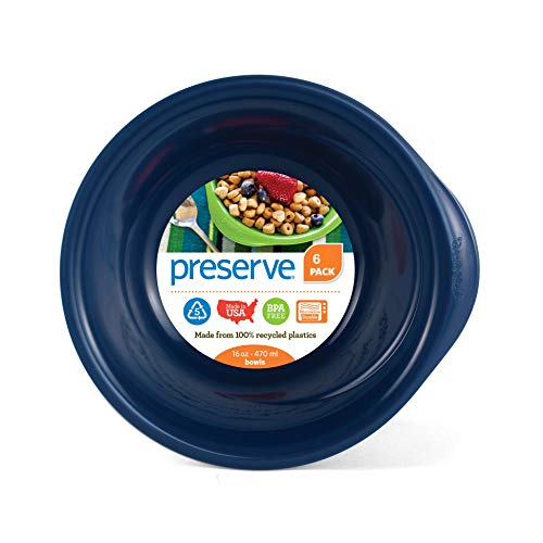 Preserve Everyday BPA Free Bowls Made from Recycled Plastic, Set of 6, Midnight Blue von Preserve