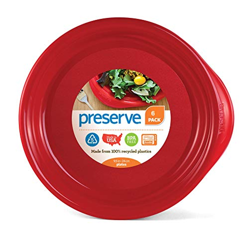 Preserve Everyday BPA Free Dinner Plates Made from Recycled Plastic, Set of 6, Pepper Red von Preserve