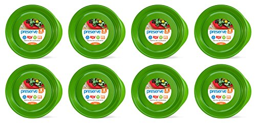 Preserve Everyday BPA Free Dinner Plates Made from Recycled Plastic in the USA, Bulk Set of 32, Apple Green von Preserve