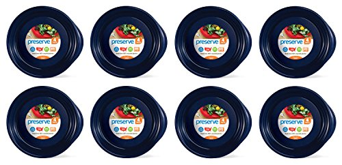 Preserve Everyday BPA Free Dinner Plates Made from Recycled Plastic in the USA, Bulk Set of 32, Midnight Blue von Preserve