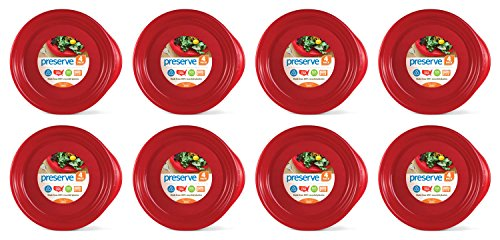 Preserve Everyday BPA Free Dinner Plates Made from Recycled Plastic in the USA, Bulk Set of 32, Pepper Red von Preserve