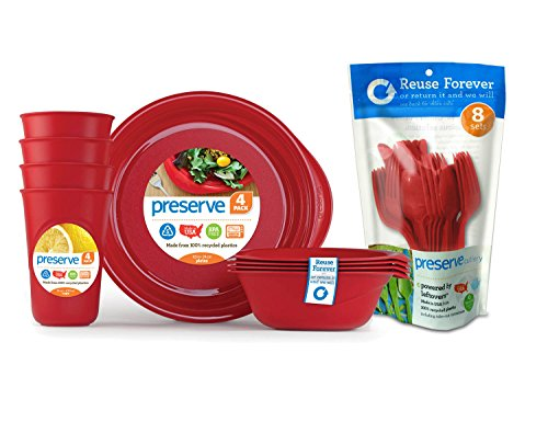 Preserve Reusable BPA Free Everyday Tableware Set with Cutlery Made from Recycled Plastic: 4 Plates, 4 Bowls, 4 Cups and 24 pieces of Cutlery, Pepper Red von Preserve