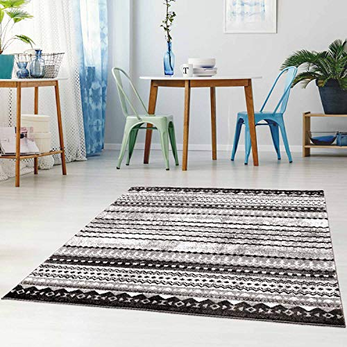 Carpet City Flachflor Modern Teppich, Polypropylen, Grau, 80 cm x 300 cm von carpet city