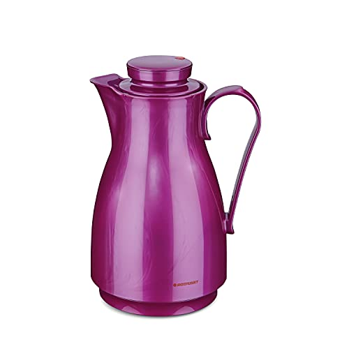 ROTPUNKT Isolierkanne 828 Karla 1,8 l | Zweifunktions-Drehverschluss | BPA Frei- gesundes Trinken | Made in Germany | Warm + Kalthaltung | Glaseinsatz (Shiny Grape) von ROTPUNKT