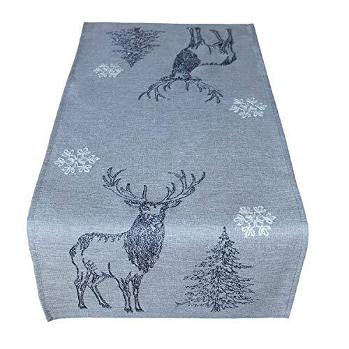 Raebel Tischdecke 85 x 85 cm Stickerei lustiger Elch Ecru-bunt Weihnachten Weihnachtsdeko Weihnachtstischdecke Mitteldecke Tischdeko Tischdecke
