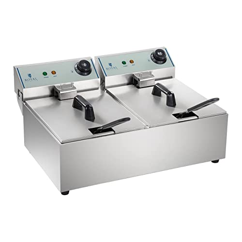 Royal Catering Fritteuse Edelstahl Doppel Fritteuse RCEF-10DY-ECO (2 x 10 Liter, 2 x 3.200 Watt, 230 V) von Royal Catering
