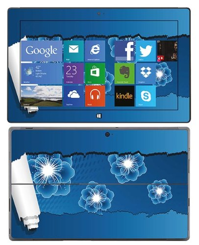 Royal Wandtattoo RS. 49897 selbstklebend für Microsoft Surface Pro, Motiv Blue Flowers with Paper von Royal Sticker