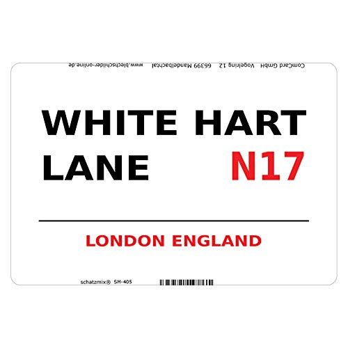 Schatzmix Street Hart Lane London N17 White Metallschild Wanddeko 20x30 tin Sign Blechschild, Blech, Mehrfarbig, 20x30 cm von Schatzmix