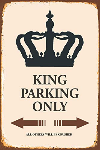 Schatzmix Blechschild King König Parking only parkschild tin sign Metallschild Wanddeko 20x30 tin sign von Schatzmix