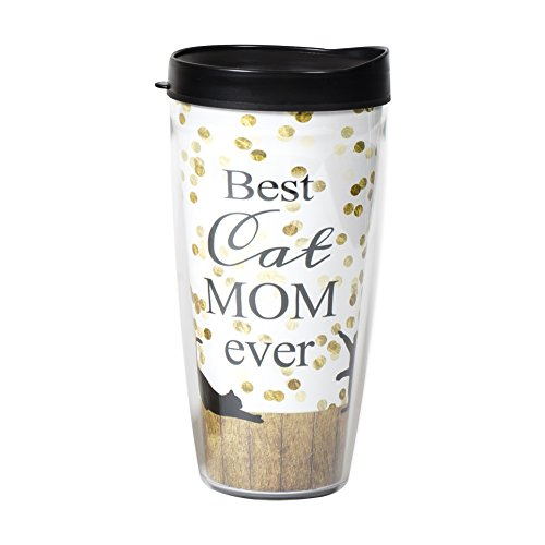 Best Cat Mom Ever Polka Dot Spray Damast Wrap Travel Tumbler Becher mit Deckel 22 oz mehrfarbig von Signature Tumblers