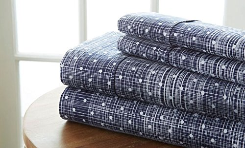 Einfach Soft 4 Stück Polka Dot Muster Bed Sheet Set, Navy, Twin von Simply Soft Ombre
