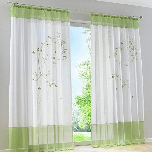 Souarts Grün Stickerei Transparent Gardine Vorhang Schlaufenschal Deko Für Wohnzimmer  Schlafzimmer Studierzimmer 140cmx175cm