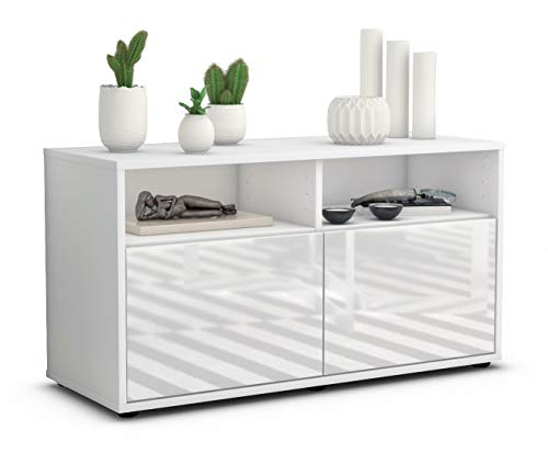 Stil.Zeit TV Schrank Lowboard Alegra, Korpus in Weiss Matt/Front im Hochglanz Design Weiß (92x49x35cm), mit Push to Open Technik, Made in Germany von Stil.Zeit