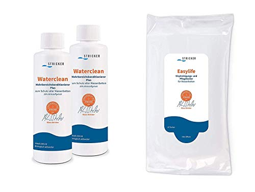 Wasserbetten Pflegemittel Set - Waterclean Conditioner 2 x 250 ml und Easylife Vinyl Reinigungstücher 1 x 15 Stück - optimale Pflege fürs Wasserbett von Stricker Chemie Waterclean
