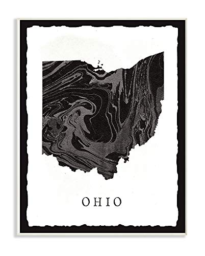 The Stupell Home Decor Collection Black and Grey Marbled Paper Ohio State Silhouette Wandschild, MDF, Mehrfarbig, 13x19 von The Stupell Home Decor Collection