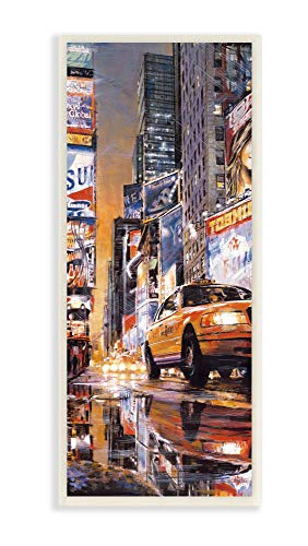 The Stupell Home Decor Collection New York City Times Square Night Scene Taxi Wandschild, MDF, Mehrfarbig, 7x17 von The Stupell Home Decor Collection