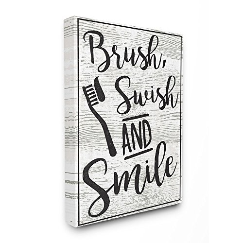Stupell Home Decor Collection The Wandbild, Motiv Pinsel, Swish and Smile Typographie, MDF, MDF, Mehrfarbig, 24x30 von Stupell Home Decor Collection