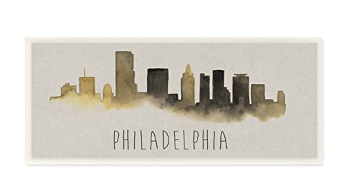 Stupell Home Décor Philadelphia Skyline Silhouette Wandschild Art, 7 x 0,5 x 17, Stolz Made in USA von Stupell Home Decor Collection