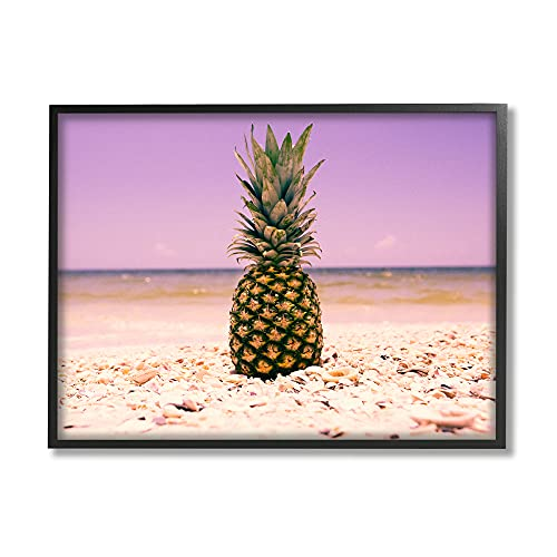 Stupell Home Décor Pink Purple Pineapple Beach Oversized, Giclée Texturized Kunst, 16 x 1,5 x 20, Stolz Made in USA von The Stupell Home Decor Collection