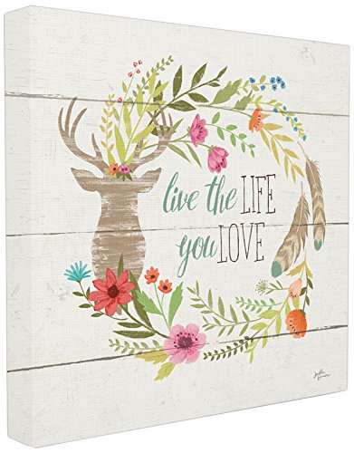 The Stupell Home Décor Collection Rustikale Blüten Live the Life You Love, gespannte Leinwand, 43 x 43 cm von The Stupell Home Decor Collection