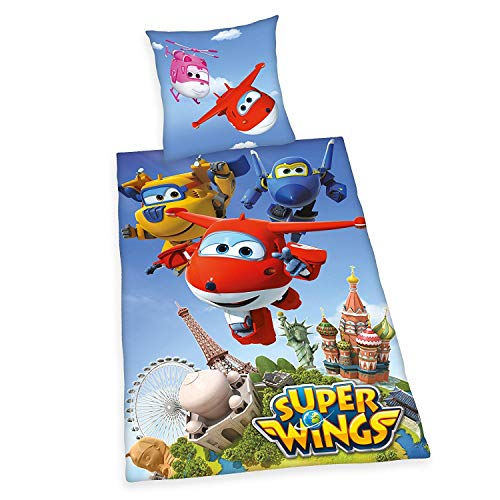 Super Wings Bettwäsche glatt Jett Donnie Dizzy Paul Flugzeuge 135 x 200 NEU Wow - All-In-One-Outlet-24 - von Super Wings
