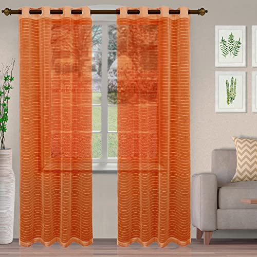 Superior Jackson Stripe Sheers Ösenvorhang, 132 x 213 cm, Orange, 2 Stück von Superior