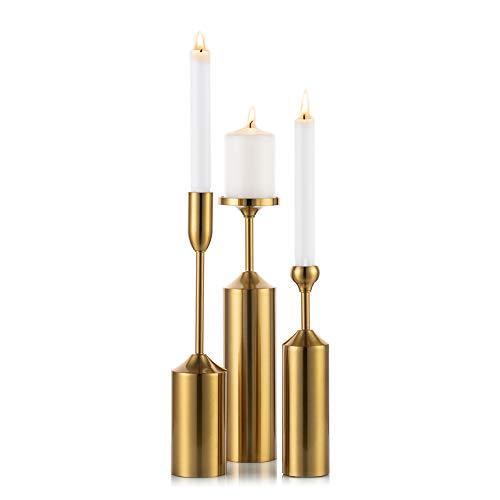 Billty Metall Einarmige Kerzenst/änder Kerzenhalter Dekoration Hochzeit Esstisch Goldener Kerzenleuchter Tischdekoration Candlelight Dinner Pillar Candle Holders
