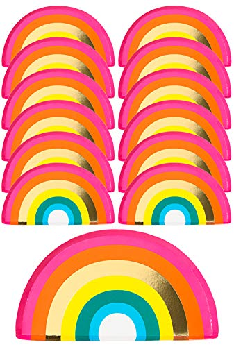Talking Tables RAIN Happy Birthday Rainbow Shaped Plate, With Foil (12Pk), Papier, Gold and Mixed Colors von Talking Tables
