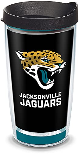 Tervis 1325317 NFL Jacksonville Jaguars - Touchdown Insulated Tumbler with Wrap and Black Travel Lid, 16 oz - Tritan, Clear von Tervis