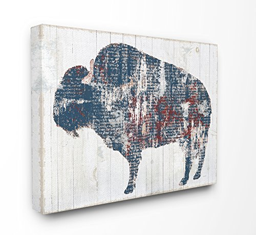 Die Stupell Home Decor Kollektion rot weiß blau Bull Distressed Text gedehnt Art Wand, Leinwand, mehrfarbig, 40,64 x 103.23 X 50,8 cm von The Stupell Home Decor Collection
