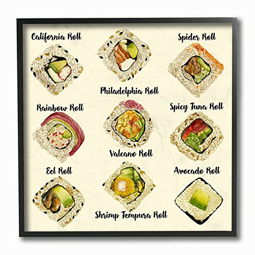 Stupell Industries Sushi Roll Illustration Chart Gerahmte Giclée-Kunst, 30,5 x 30,5 cm, mehrfarbig von The Stupell Home Decor Collection
